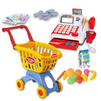 Educational resources toys, pretend and play calculator cash register with shopping cart