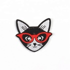 high quality jean label woven cat embroidery patch iron-on