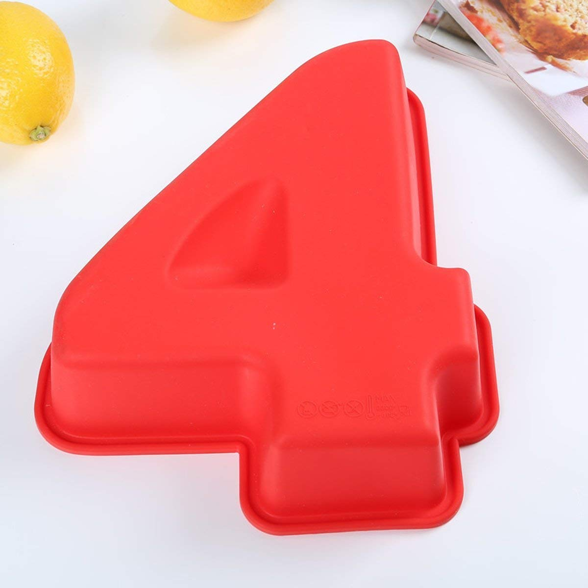 Numbers Mold Silicone -100% food grade Large Silicone Number 4 Cake Mould Pan Baking Tin Birthday Anniversary 4th