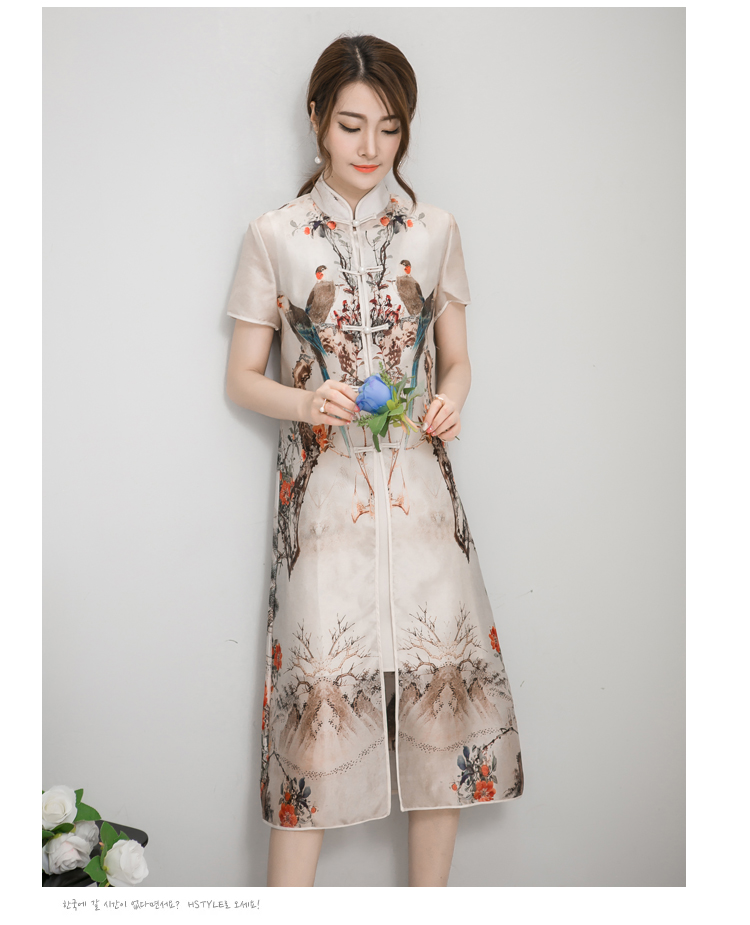 eastern style china printed women short sleeve casual chiffon dress