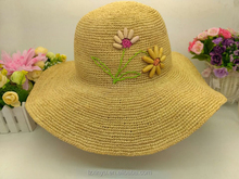 Natural color raffia straw hats with flower to decorate