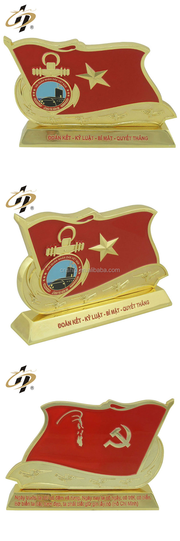 Free sample zinc alloy enamel custom souvenir trophy made in china with box