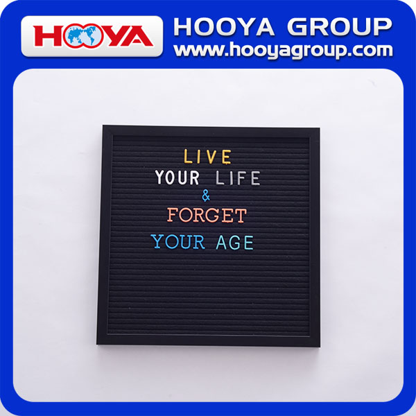 black felt letter board 12*12 inch ps foam frame and plastic letters