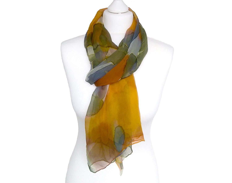 b64529d4d2525 Get Quotations · Painted scarf women, Painted scarf silk, Chiffon scarves,  Women chiffon scarf, Women