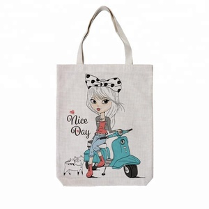 New Design Cheap Printed Cotton Linen Drawstring Shopping Bag For Lady Shoulder Bag