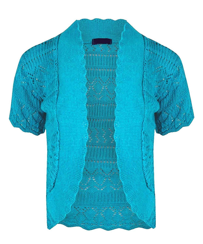 Rimi Hanger Womens Long Sleeve Diamond Crochet Knitted Bolero Shrug Ladies Fancy Party Cardigan Top US 12-28