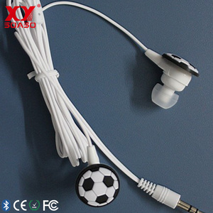 Newest design silicone PVC customized promotion low price cute kid soccer earphone