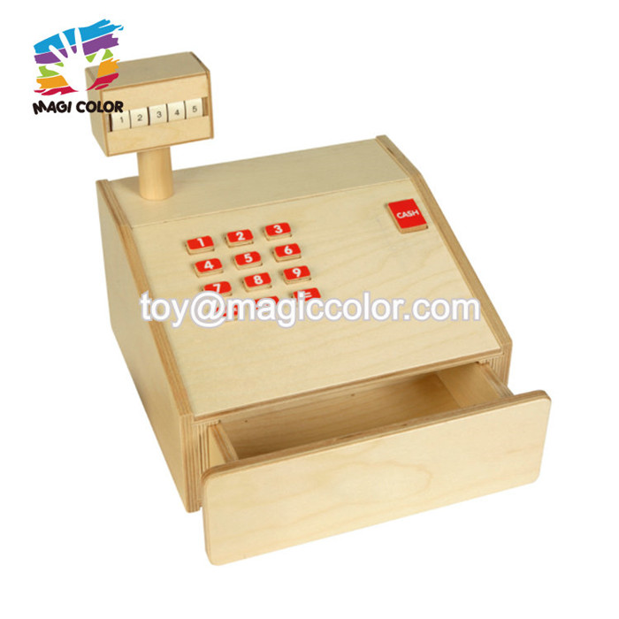 New hottest pretend play wooden shopping till toy for kids W10A099
