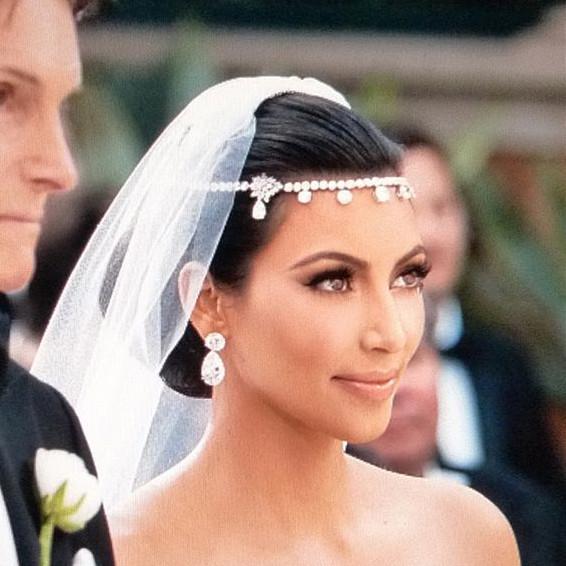 kim kardashians wedding headpiece