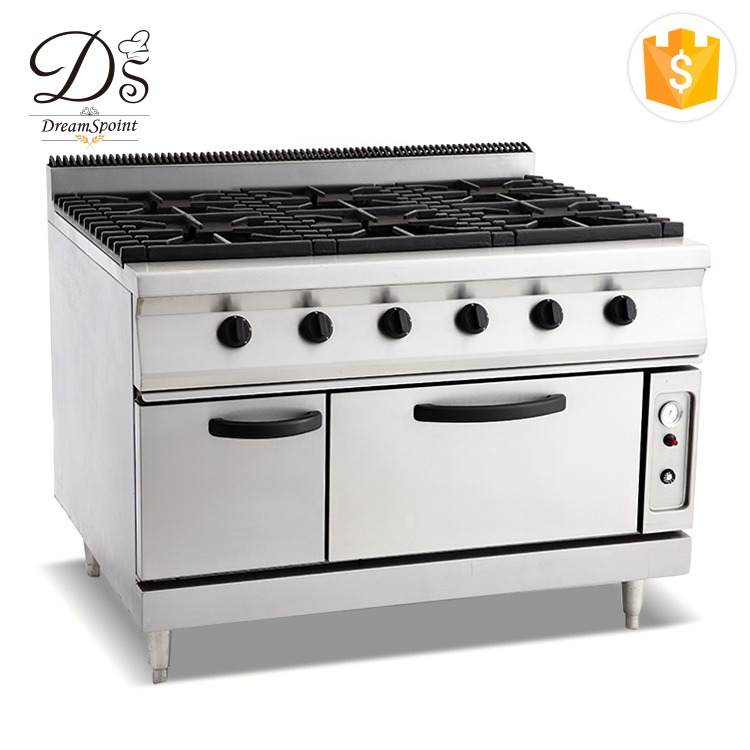 Eco-friendly Commercial stainless steel 6-burner gas range cooking stoves with oven under