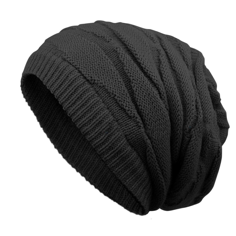 BLACK High Knit Oversize Baggy Beanie Blank Winter Slouchy Hat Cap Skull  Knit Ski 18228cf50b4a