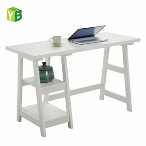 Yibang Eco-Friendly Trestle White Paint Home Studio Center white office wooden Desk , Writing Table