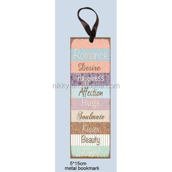 """ROMANCE, DESIRE, HAPPINESS, AFFECTION, HUGS, SOULMATE, KISSES, BEAUTY, LOVE"" SIMPLE AND DECORATIVE CUSTOM METAL BOOKMARK"