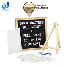 WanuoCraft Wholesale Home Decoration 10X10 Inch Black Magnetic Felt Letter Boards With Easel Display Stand For Children