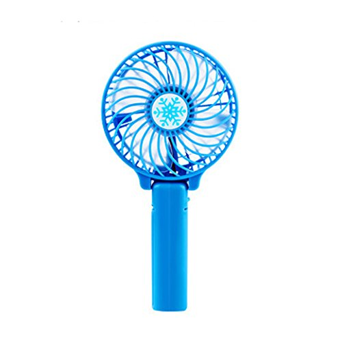 Handheld Fan Mini Portable Outdoor Electric Fan with Rechargeable Multipurpose Collapsible Portable Fan Desktop Fan 3 Speed (Blue)