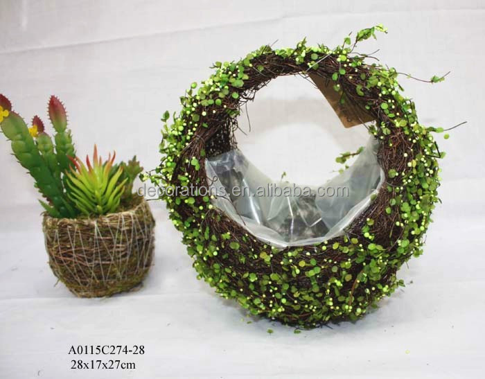 holiday topiary basket with artificial grass