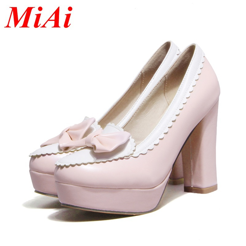 new fashion women pumps sweet round toe bow tie wedding shoes ladies high heel shoes big size 34-43 black pink party shoes woman
