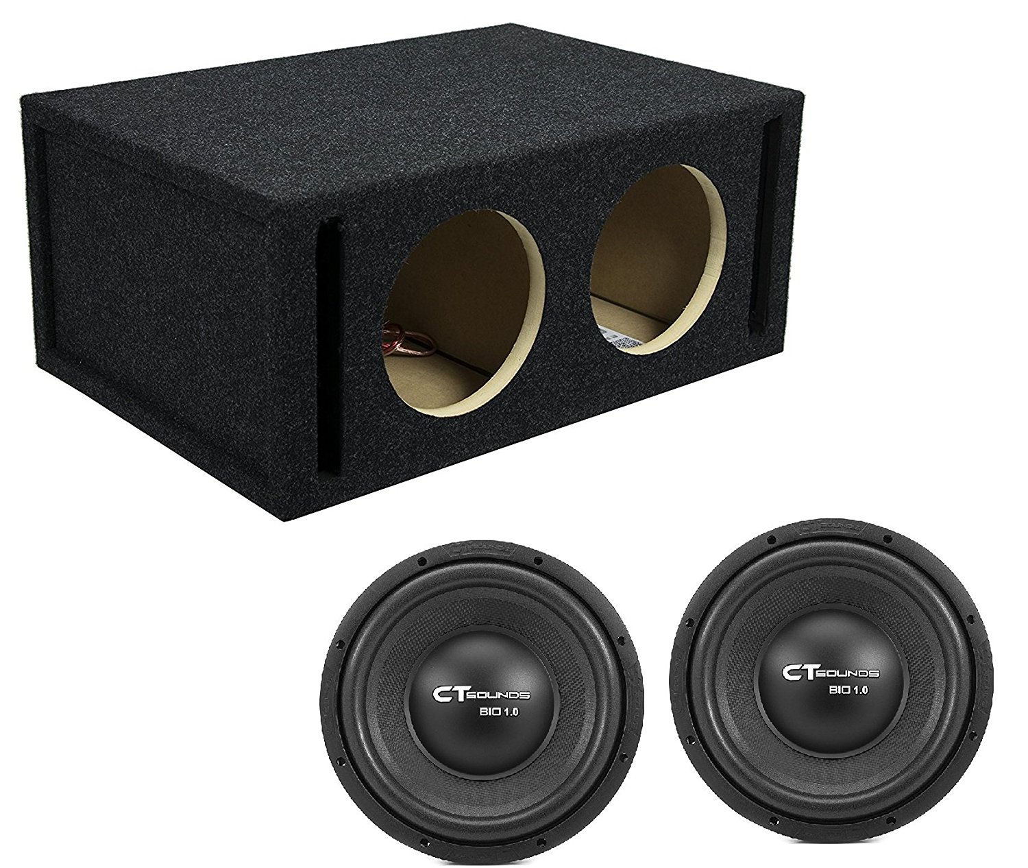 Dual 10 Inch Car Subwoofer Bass Package with Dual Ported Box by CT Sounds