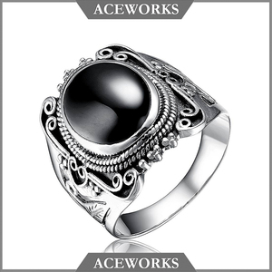 f1f2470258e17 2018 Men's Ottoman Jewelry Designs 925 Sterling Silver Rings Big Agate  Stone Ring For Men
