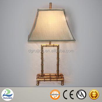 Table Lamp Metal Base Gold Bamboo