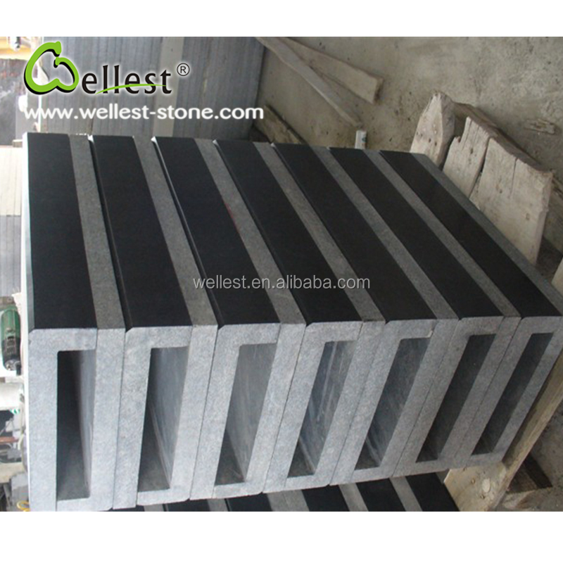 China Black Color Black Granite Pool Coping with Straight Edge for Pacing Swimming