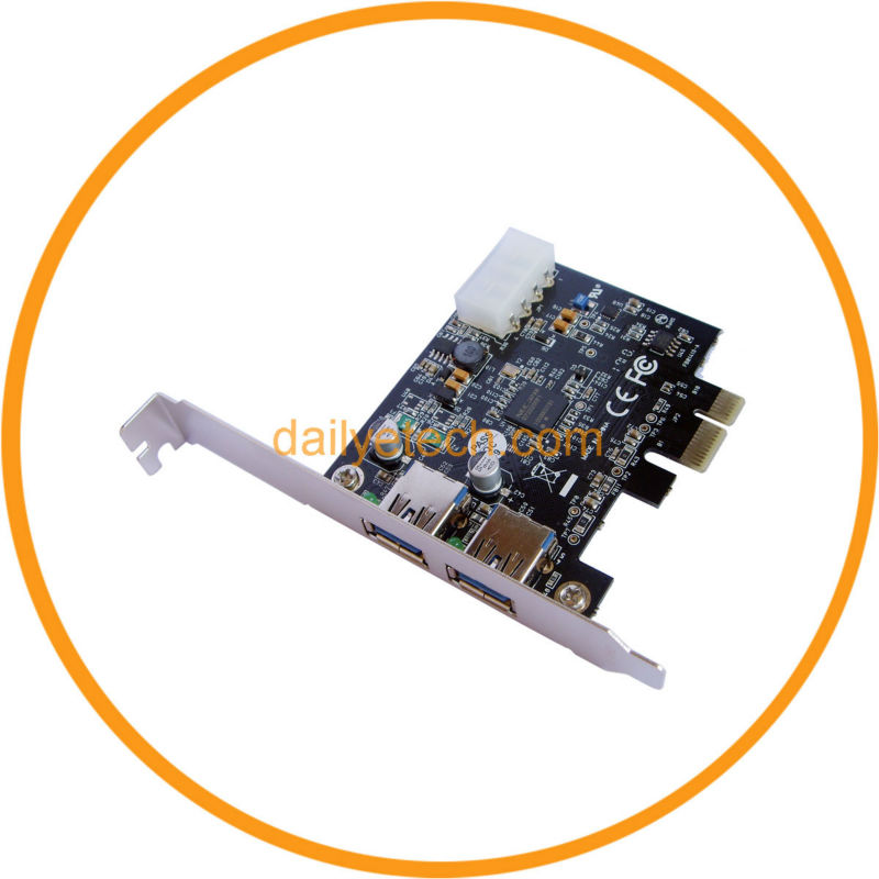 2 Port USB 3.0 PCI-E PCI Express Controller Card from dailyetech