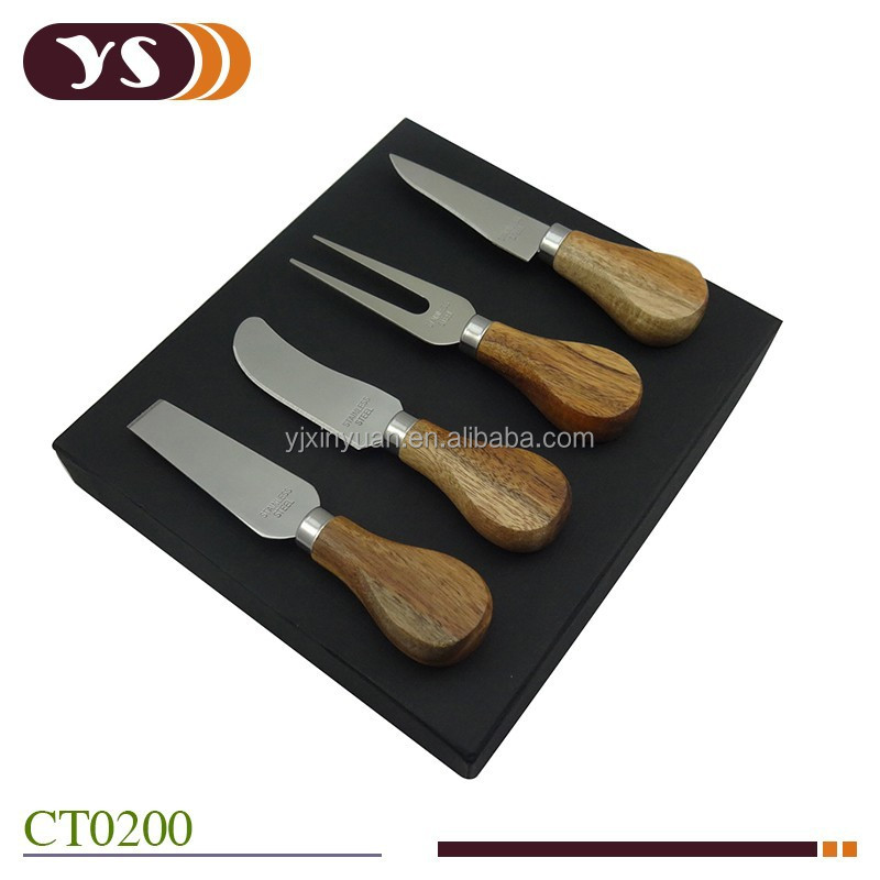 wholesale Acacia wood cheese knife set