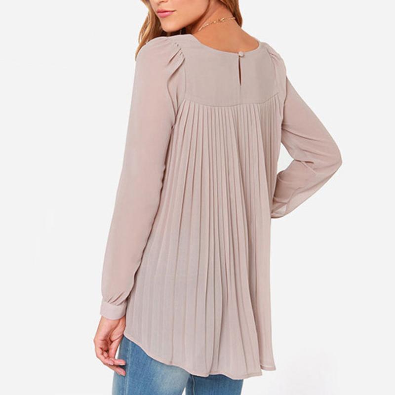 Дамы офис рубашки женщины блузка европейский стиль шифон блузы длинный рукав плиссировка задняя часть топы