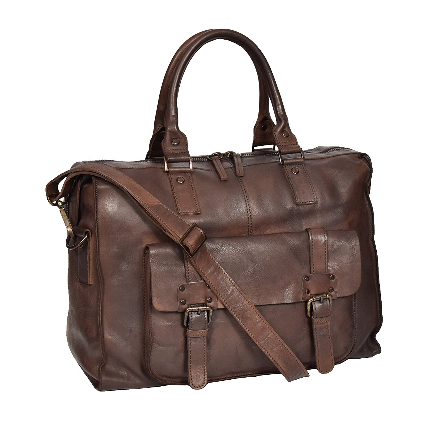 Real Leather Weekend Holdall VINTAGE Brown Travel Cabin Overnight Bag Bali