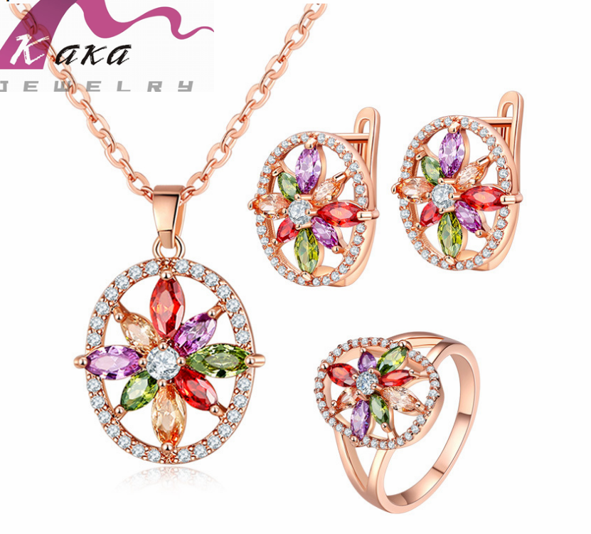 amazon best sale item Mona Lisa crystal necklace set rose gold chain pendant necklace ring earring for wedding