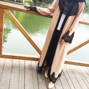 Muslim women's retro cardigan gown lace loose court style abaya muslim dresses