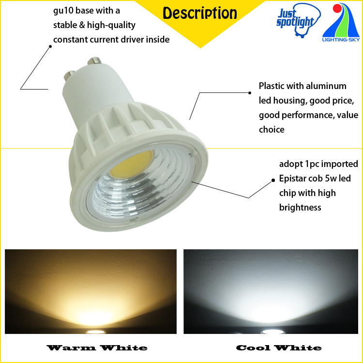 Led Reflector Lamp Gu10 Led Halogen 50w Equivalent 5w Cob Spot ...
