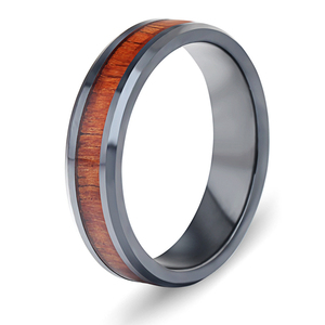 Europe and America Vintage Do Not Fade Wood Grain Concise Ceramics Mosaic Ring