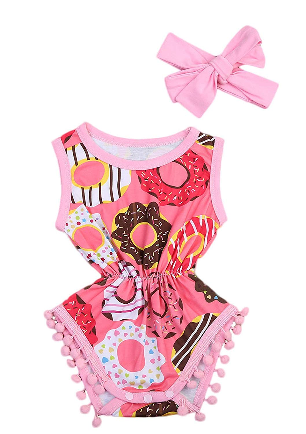 Imcute Cute Baby Girls Sleeveless Donut Tassel Romper Jumpsuit+Headband