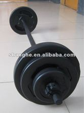 crossfit equipment adjustable plastic barbell set/ plastic weight plate/ plastic dumbbell