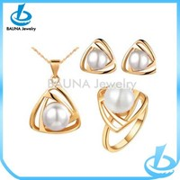 Gold plated cream pearl necklace and earring sets
