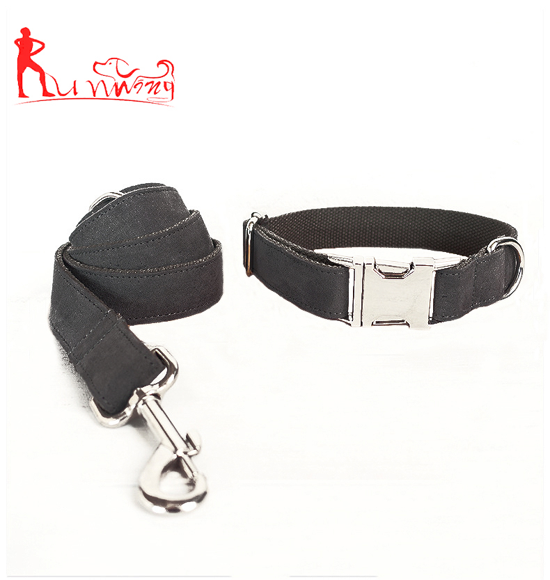 Supreme Nubuck Leather Durable Dog Collar and Dog Leash,with Stainless Metal Buckle and D Ring,Strength Metal Swivel
