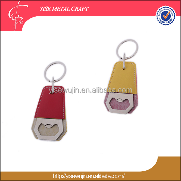 Happy Christmas New Year High Quality PU metal Bottle Opener Key Chain keyring keyholder bottle opener for Beer