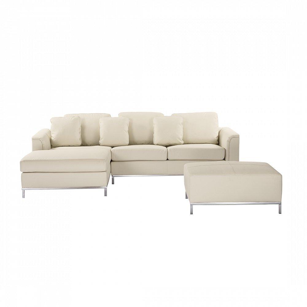Velago Ollon Beige R Modern Sectional Sofa Genuine Leather with Ottoman