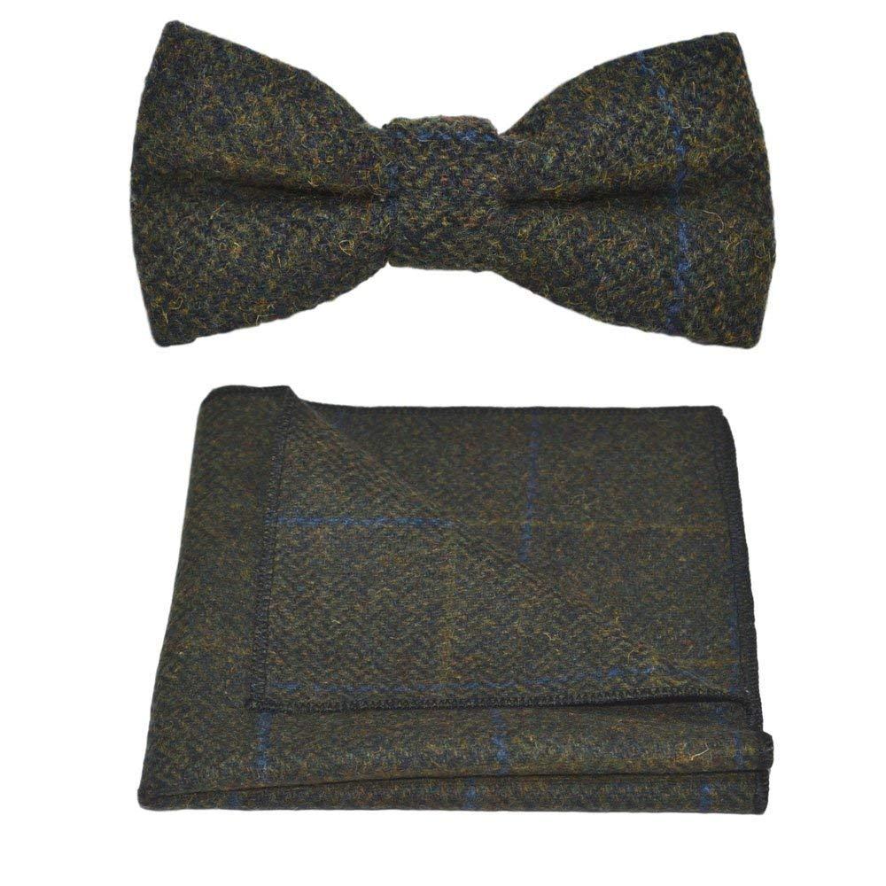 4d8978467627 Get Quotations · Luxury Juniper Green Herringbone Check Bow Tie & Pocket  Square Set, Tweed
