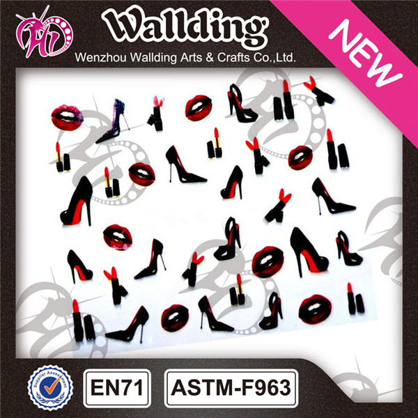 water transfer nail art decal 3d printing stickers for finger nail decoration