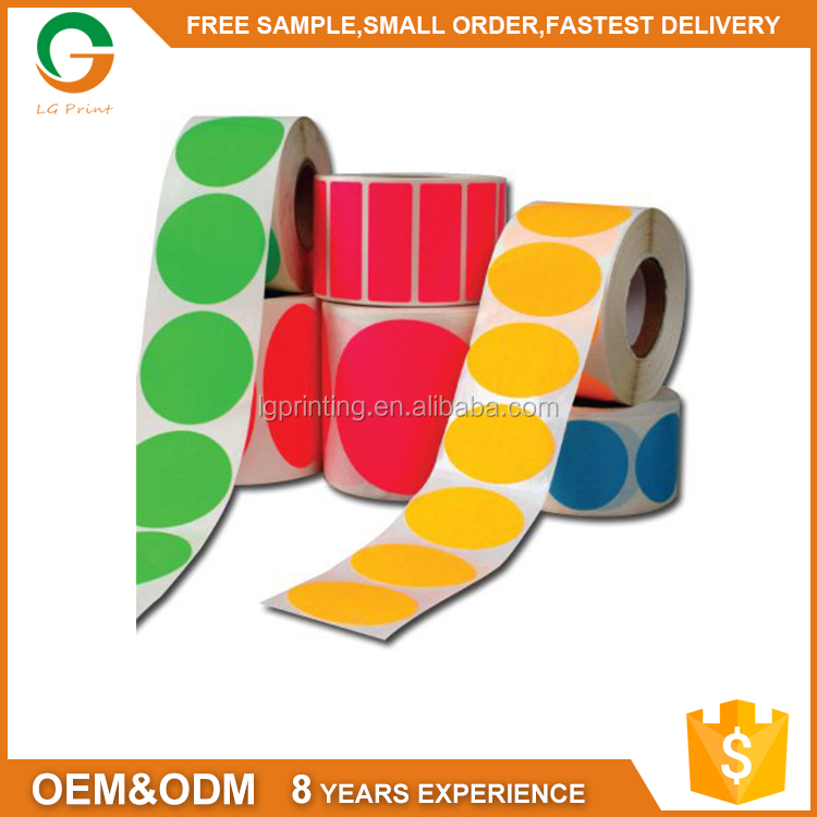 CMYK Patone Color Manufacturers customized Logo Code Paper Self Adhesive Stickers Roll