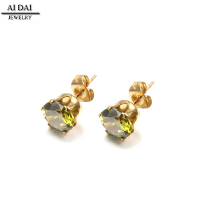 Fashion jewelry 18k gold olive green cz earrings ZR-088