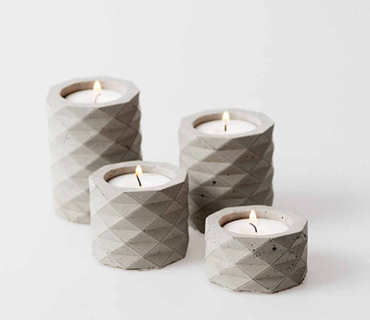 simple nordic style cement concrete candle holder for home decor