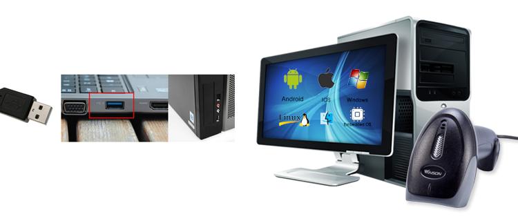 Winson WNL-5000g cable láser escáner de código de 1D USB lector de código de barras de escáner portátil