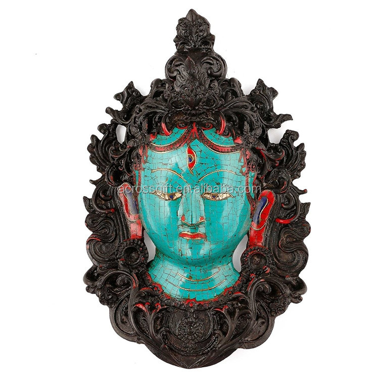 Hot Sale Personalized Handmade Color Painted Decorative Buddha Wall Mask