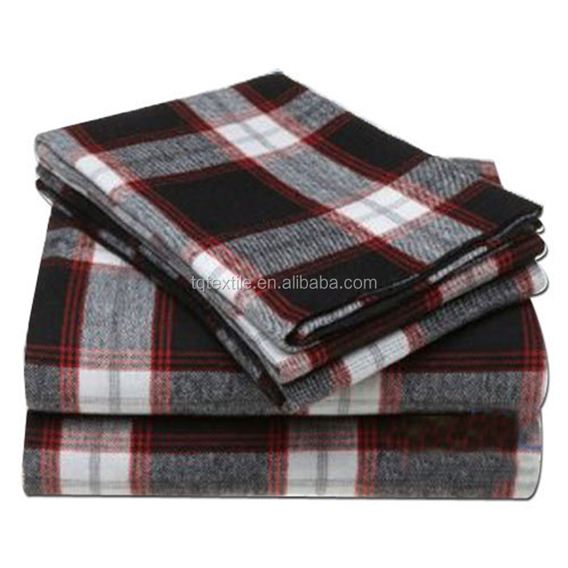 2015 hot sale Check design reactive printed 100 cotton flannel fabric for men/women shirts/pajamas
