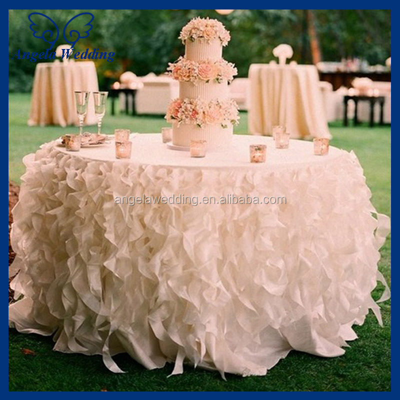 CL010L Cheap Hot Sale Elegant Polyester Organza Round Ruffled Curly Willow  Frilly Hot Pink Fancy Wedding