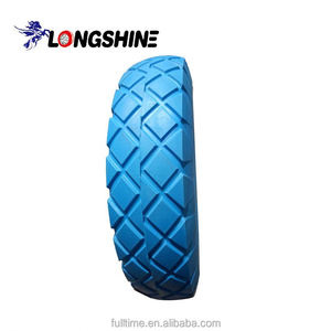 "10"" 3.50-4 heavy duty pu foam solid cart wheel"