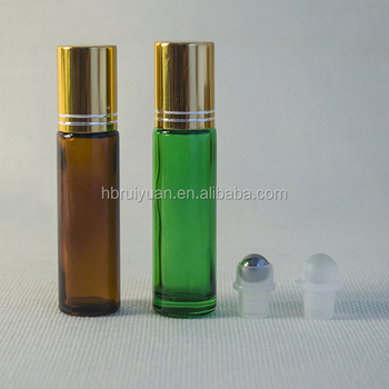 10ml clear red blue green amber frosted glass roll on bottle essential oil with ball cap